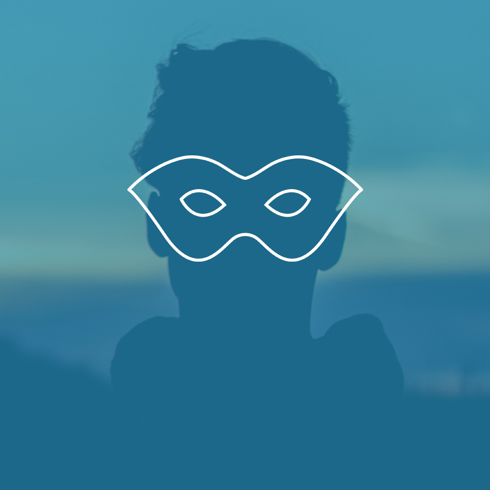Silhouette of individual with mask